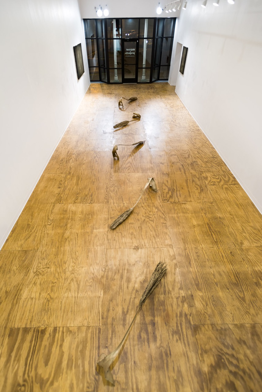 Installation Shot, Mayeur Projects, LA-LIKE: Prospecting Palm Fronds, Fools Gold Dust (Mimic) Paintings