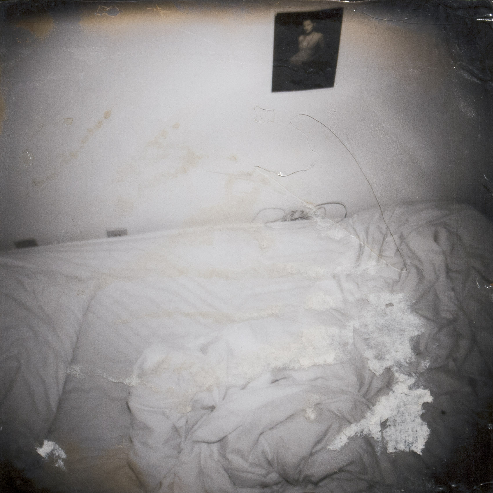 Unmade Bed (with the wires and the model on the wall) v.1 from the series The Santa Cruz Kids