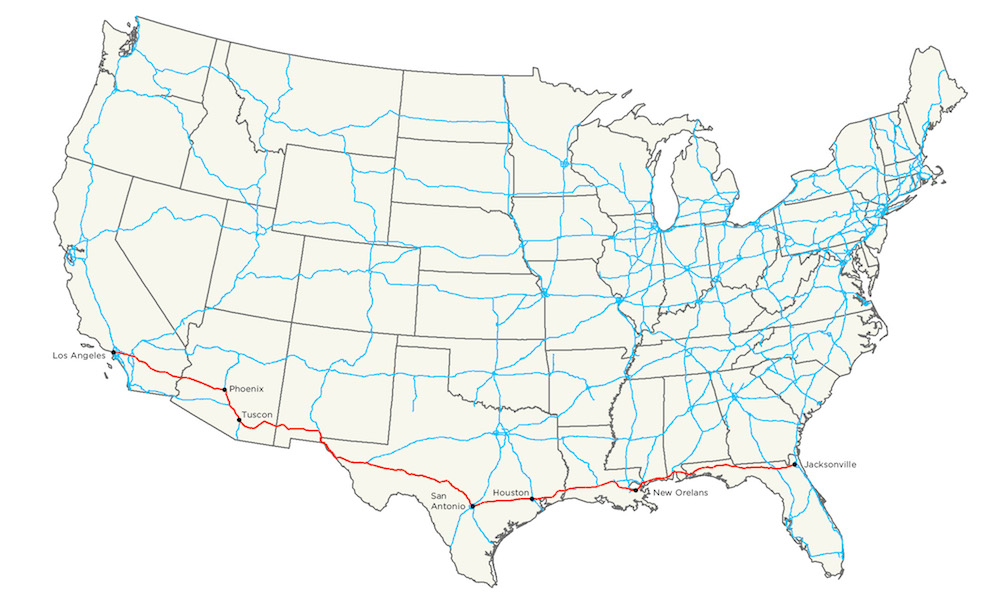 Map of the The Manifest Destiny Billboard Project Along Interstate I-10