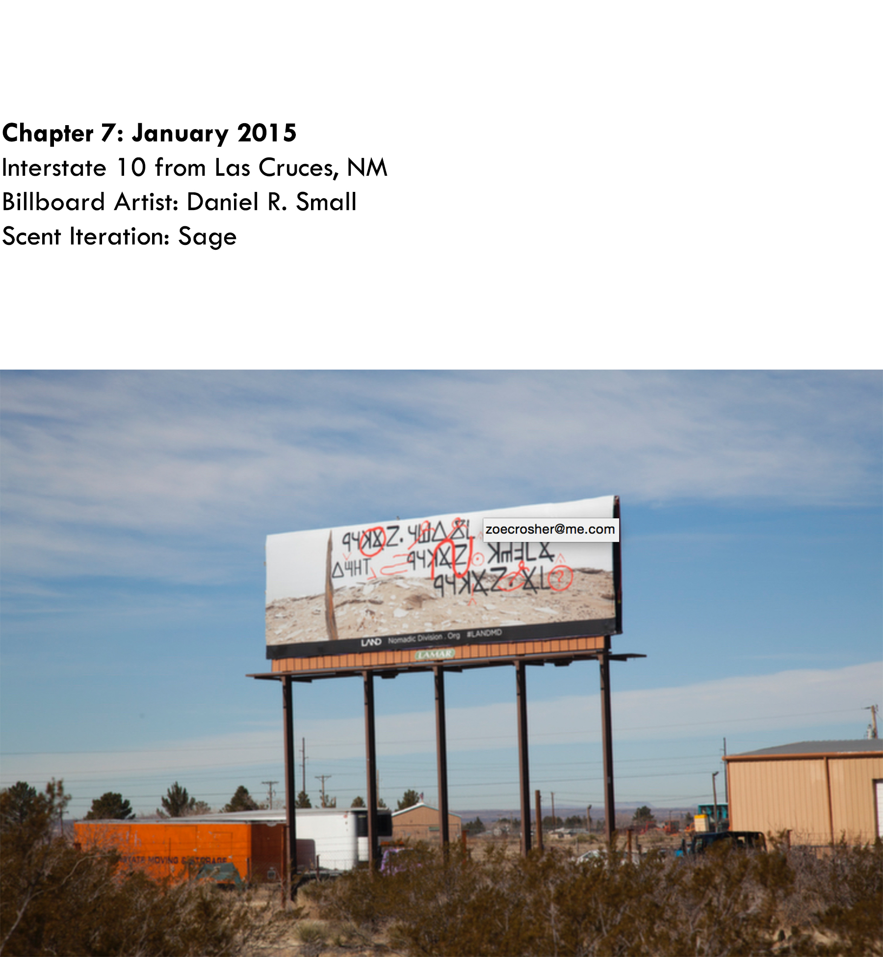 Chapter 7: January 2015, Daniel Small, Interstate 10 from Las Cruces, NM, Scent Iteration: Sage